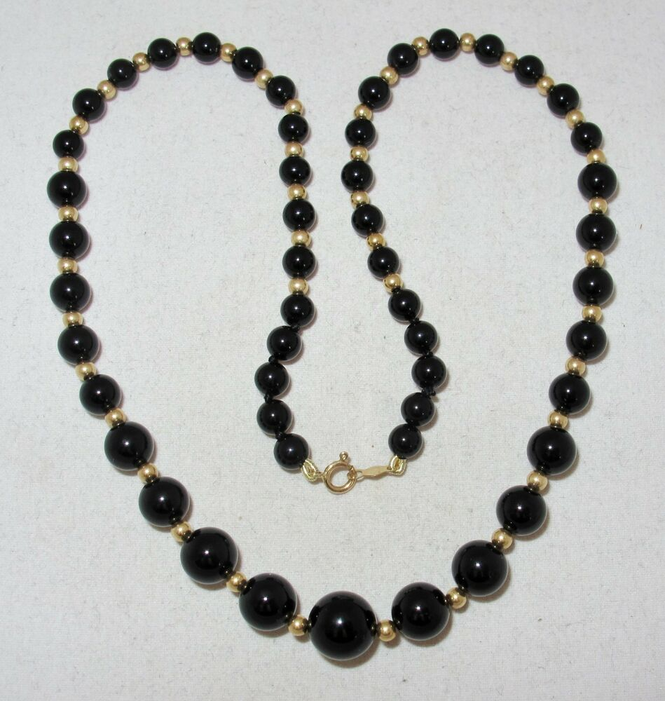 """1 Gram Beads: 16"""" Graduated Black Onyx Bead Necklace With 14K Yellow"""