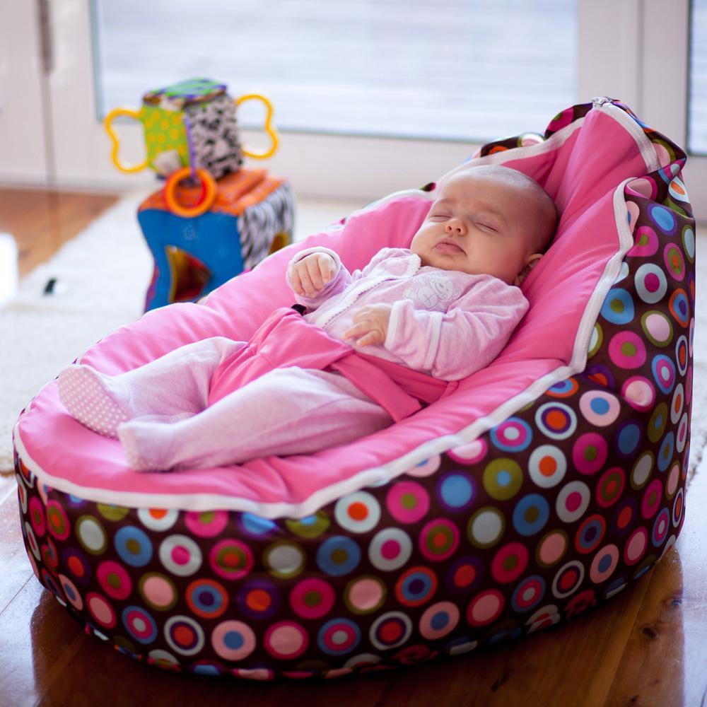 New Pink Strap Baby Seat Baby Bean Bag Chair Beanbag Cover