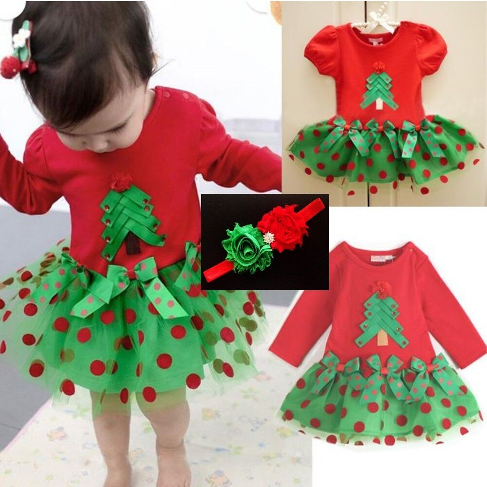 Baby Girl Christmas Tress Tulle Dress Xmas Polka Dot TUTU