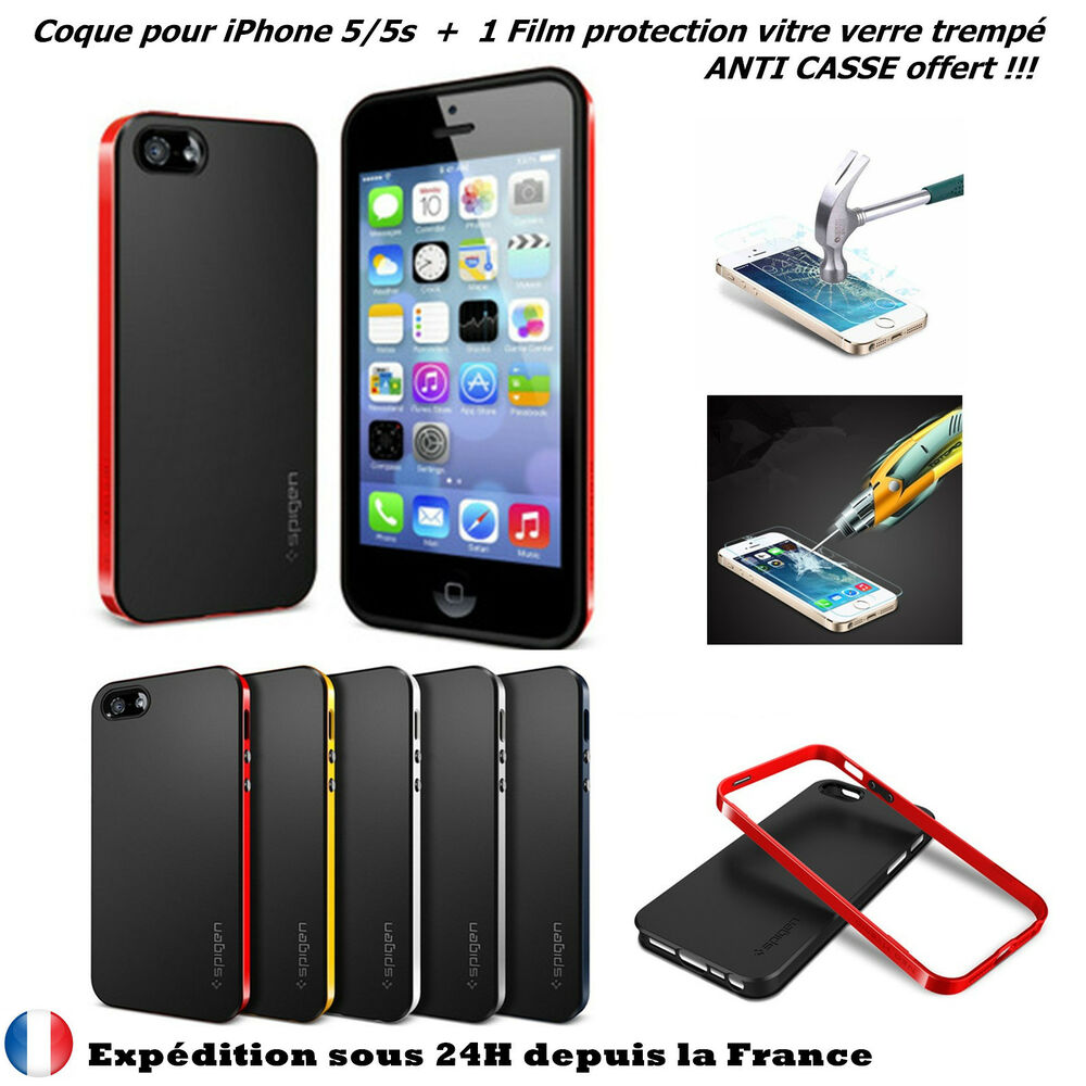 coque etui housse bumper silicone gel iphone 5 5s film protecteur incassable ebay. Black Bedroom Furniture Sets. Home Design Ideas