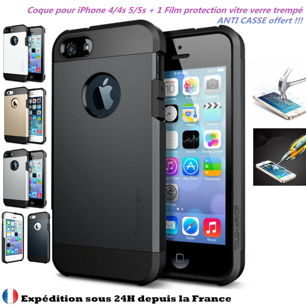 coque etui housse silicone gel iphone 4 4s 5 5s vitre protecteur incassable ebay. Black Bedroom Furniture Sets. Home Design Ideas