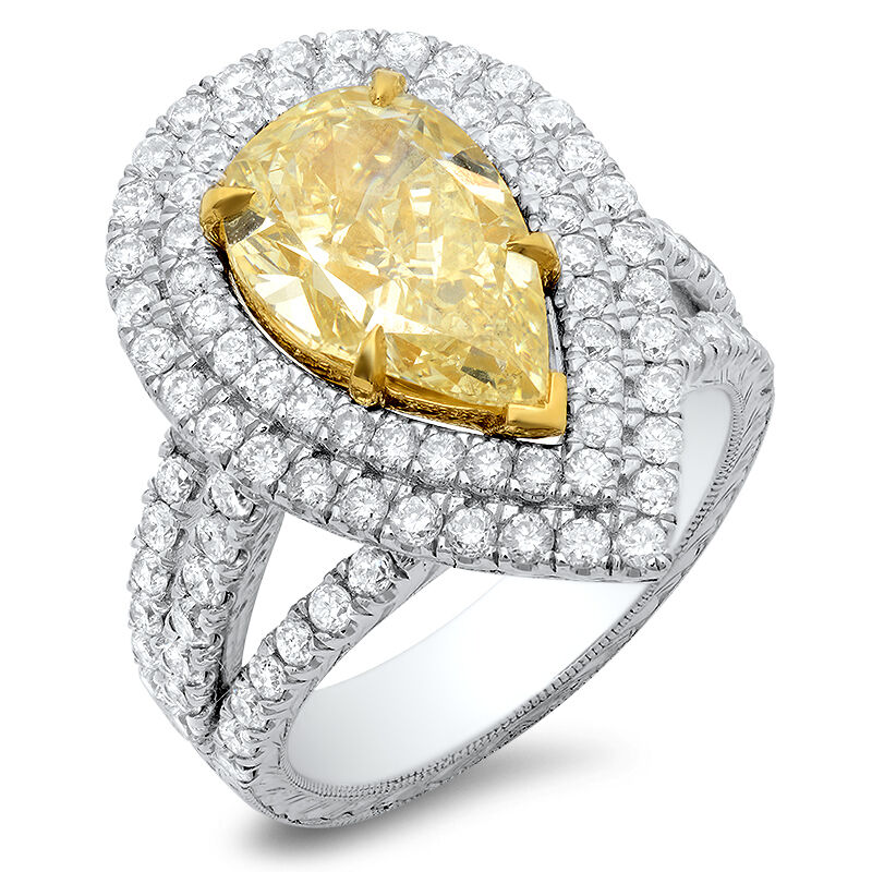 Canary Yellow Pear Shaped Engagement Rings