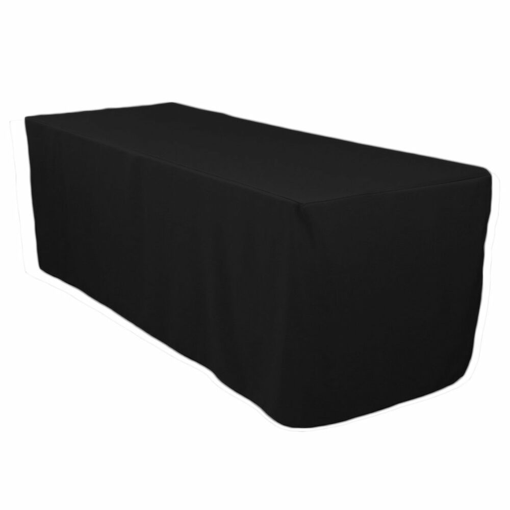 6 Foot Black Fitted Tablecloth Ebay