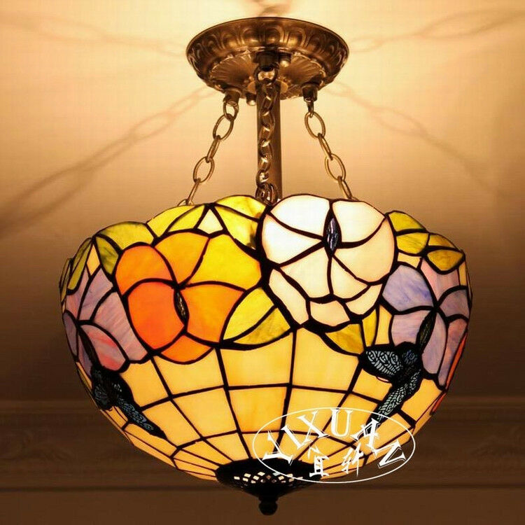 Tiffany Butterfly Stained Glass Double Light Flushmount