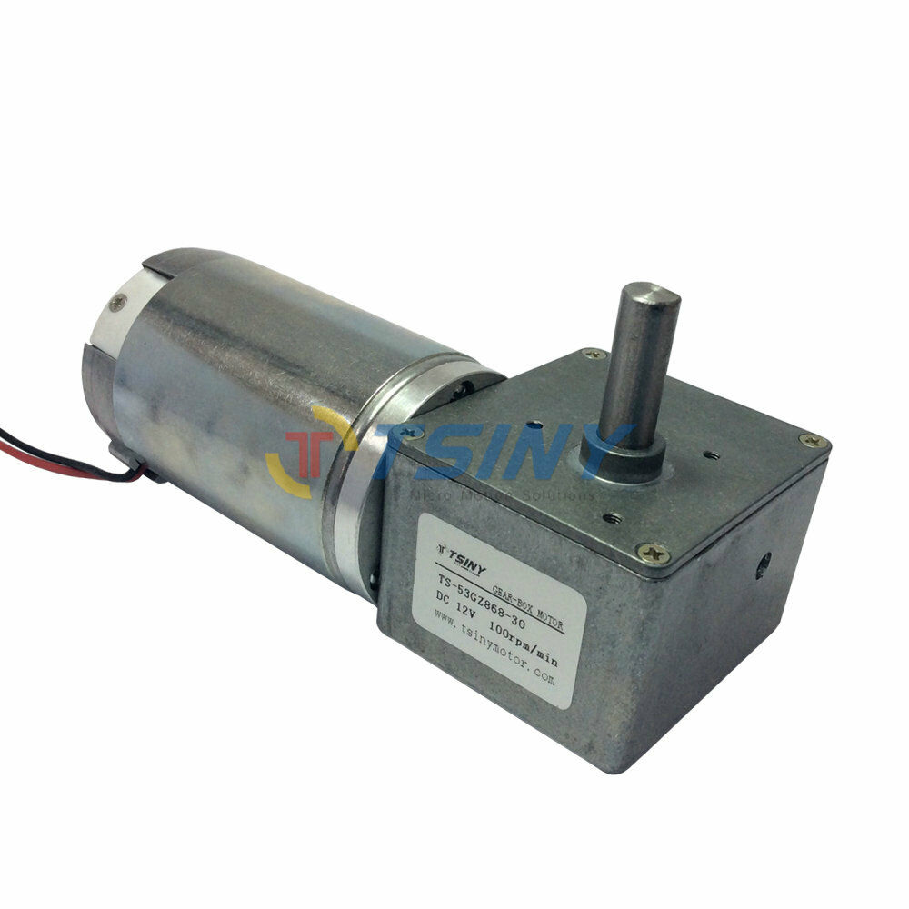 12v Dc Geared Motor With Worm Gear Box 100rpm Speed Right