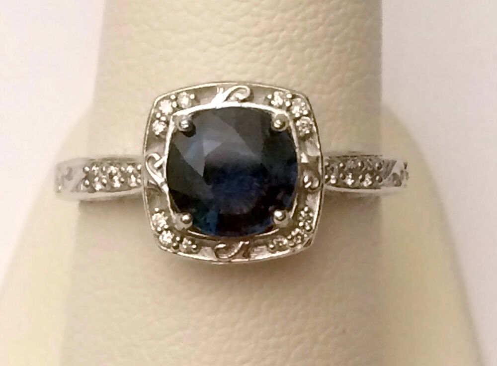 vintage wedding ring white gold halo antique vintage style sapphire 8327