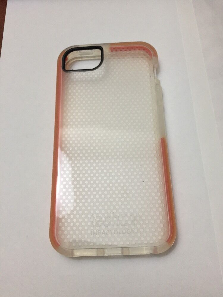 tech 21 impact clear case for iphone se 5s 5 with orange border line new ebay. Black Bedroom Furniture Sets. Home Design Ideas