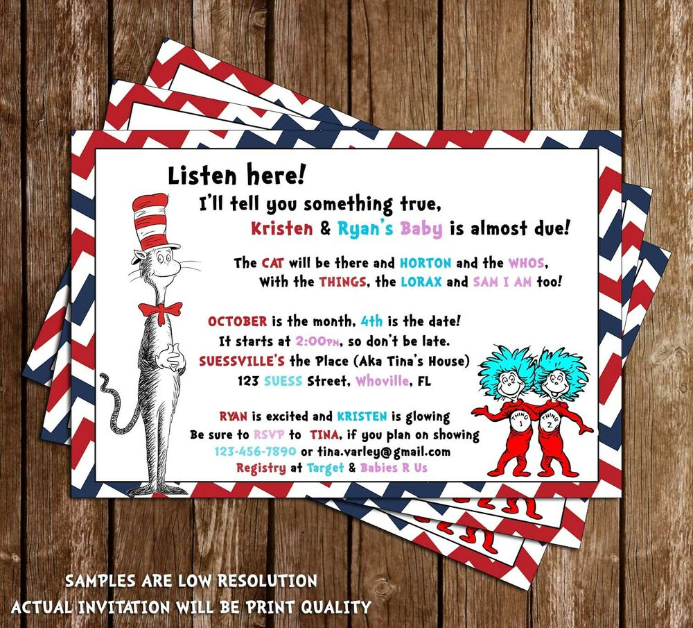 Dr Seuss - Cat in the Hat - Baby Shower Invitations - 15 Printed W ...