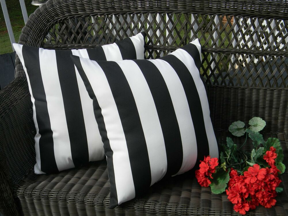 Black And White Stripe Outdoor Throw Pillows : 2 Pack ~ Black and White Stripe Decorative Indoor Outdoor Throw Toss Pillow USA eBay