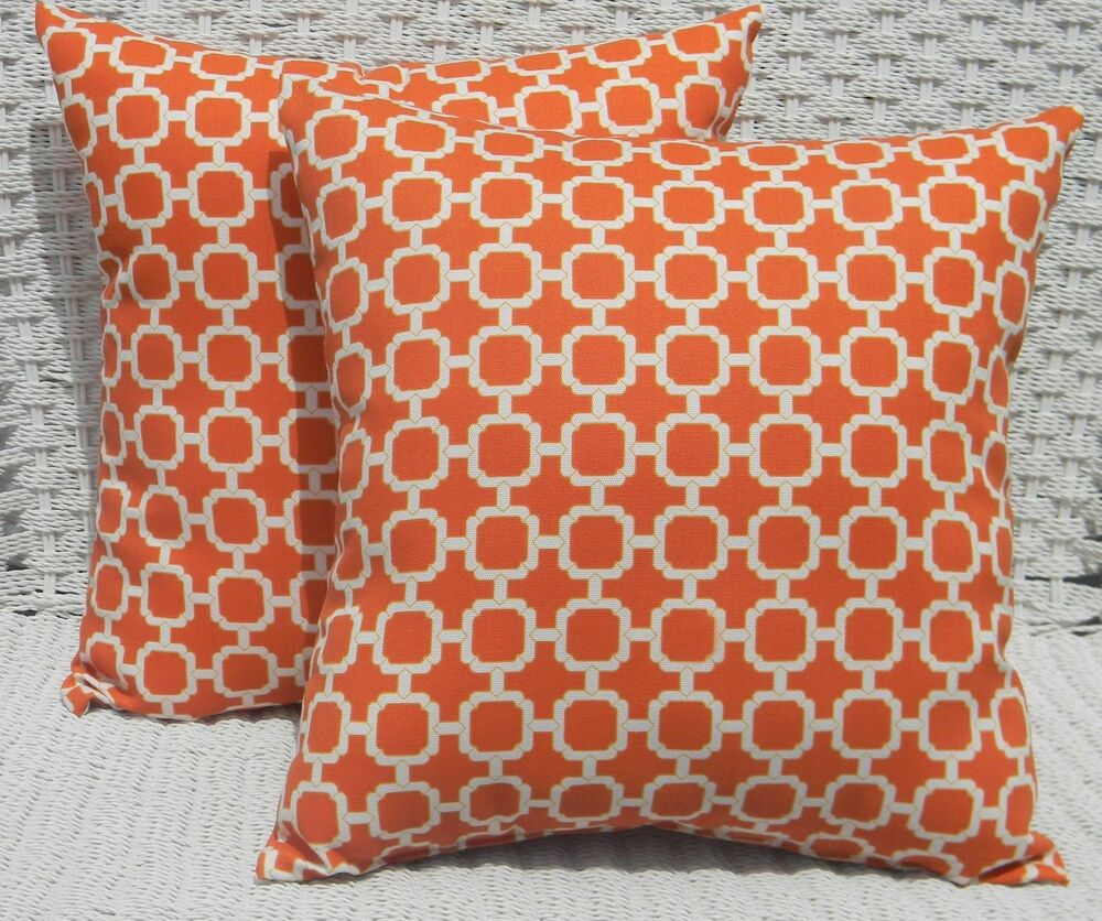 2 Pk Decorative Throw Zipper Pillow Covers Orange Geometric Indoor Outdoor USA eBay