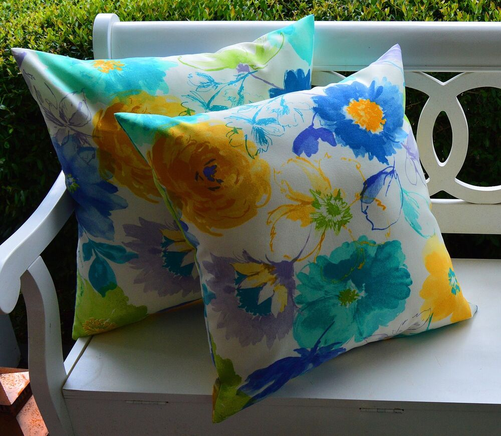 2 Pk Decorative Throw Zipper Pillow Covers Retro Art Blue Yellow Indoor Outdoor eBay