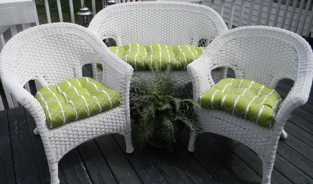 Cushions For Wicker 3 Pc Set Green Geometric Indoor