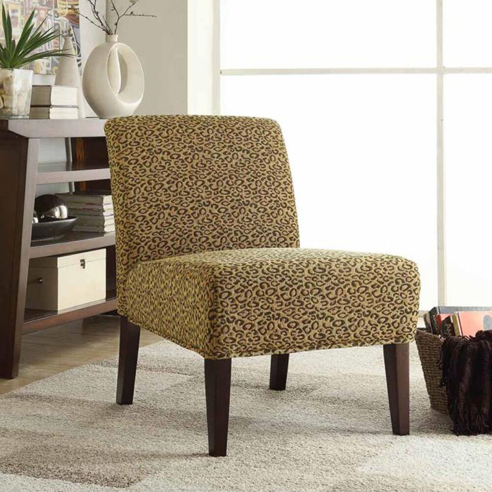 Modern Warm Gold Brown Leopard Pattern Fabric Wood Legs