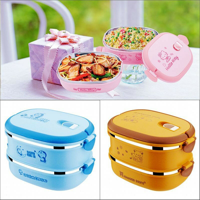 Cartoon cute bento lunch box set container children ...