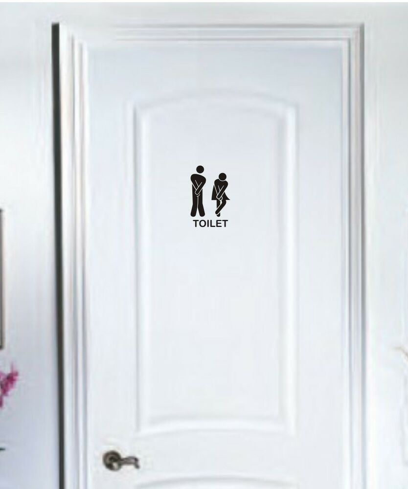 Toilet door stick man women wall stickers vinyl decals for Door mural stickers