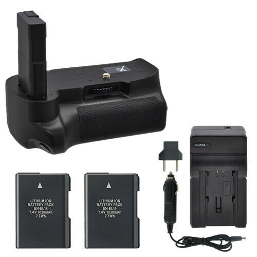 vivitar battery grip for nikon d3100 d3200 d3300 2 en el14 batteries charger ebay. Black Bedroom Furniture Sets. Home Design Ideas
