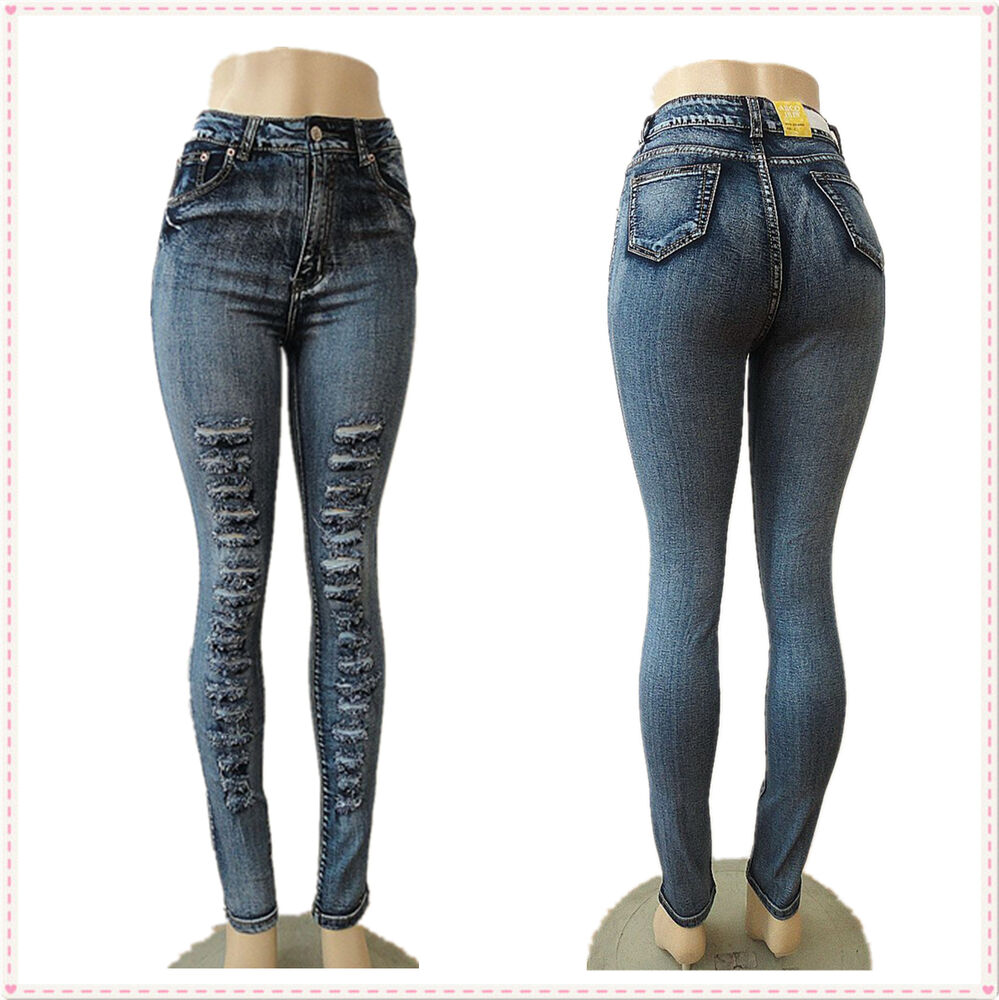Sexy Blue Skinny High Waist 2015 Fashion Style Casual Women Denim Jeans Pants Ebay