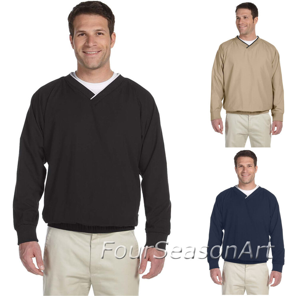 Harriton mens pullover microfiber wind shirt s m l xl 2xl for Pull over shirts for mens