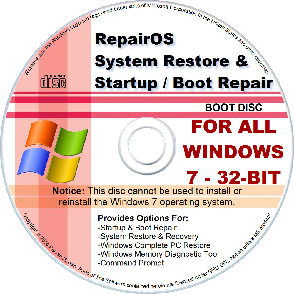 windows 7 32 bit cd boot startup repair restore recovery. Black Bedroom Furniture Sets. Home Design Ideas
