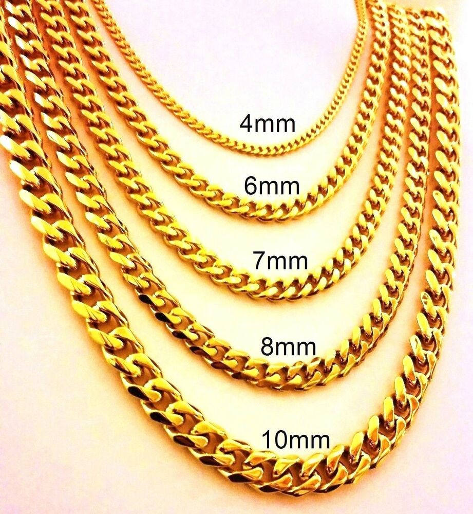 18 30 mens stainless steel 4mm 10mm 24k gold plated cuban link 18 30 mens stainless steel 4mm 10mm 24k gold plated cuban link chain necklace ebay mozeypictures Images