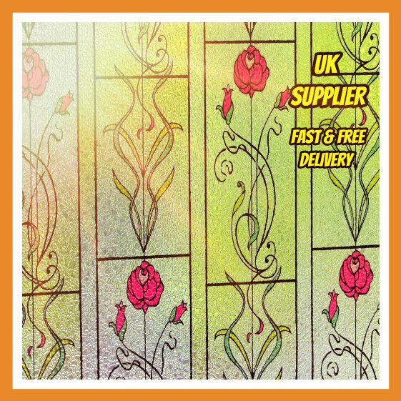 stained glass window film frosted static cling window frosting free p p ebay. Black Bedroom Furniture Sets. Home Design Ideas