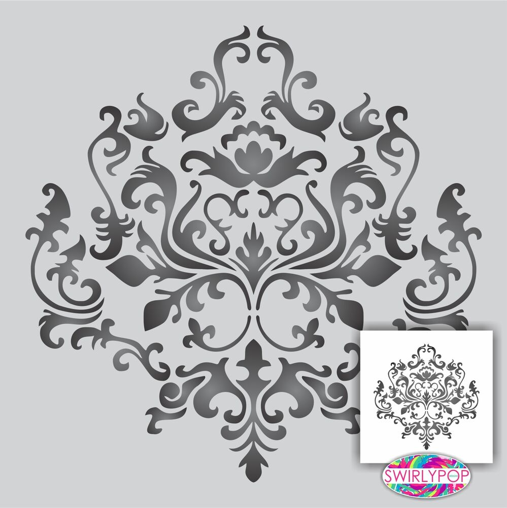 Damask wall stencil **Choose your size** Faux Mural ...
