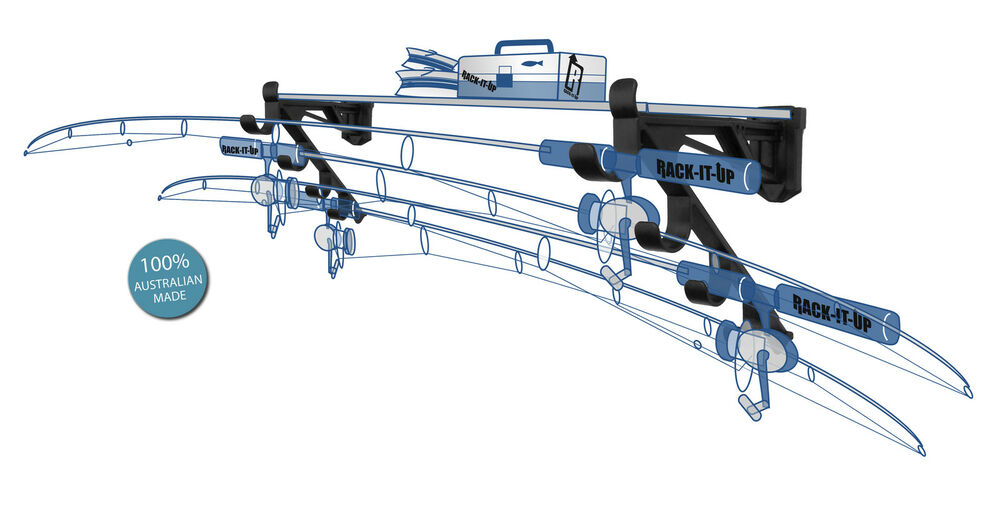 Rack it up horizontal rod reel storage system rod rack for Horizontal fishing rod rack