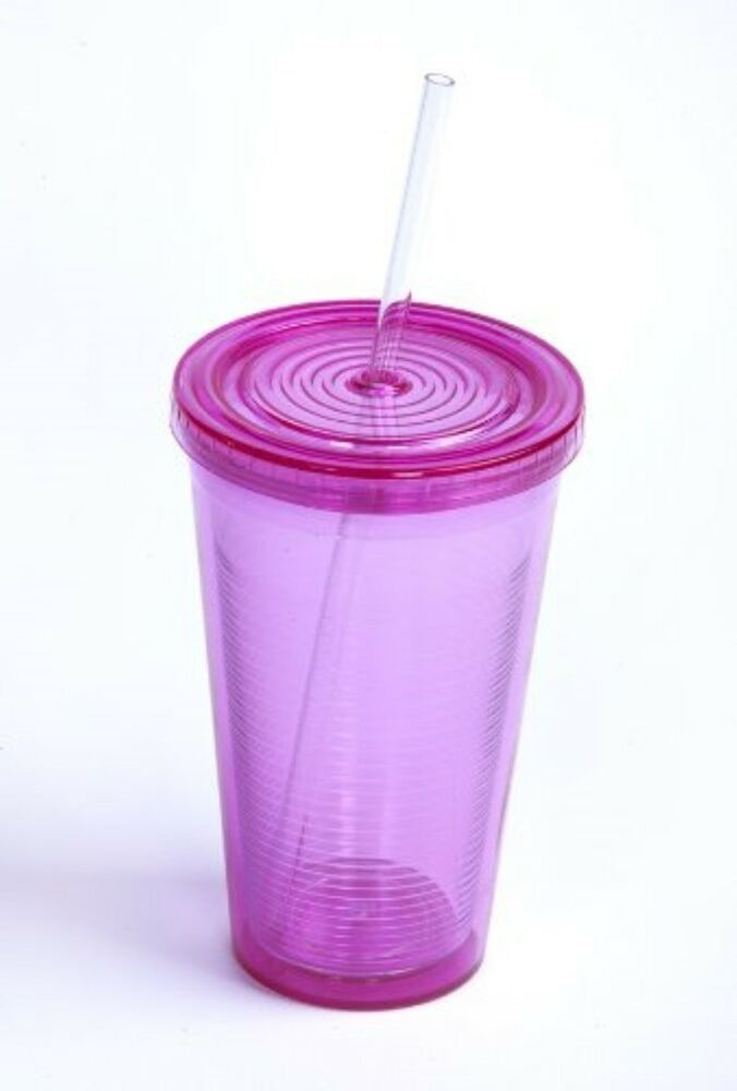 Wateru Bpa Free Double Wall 16oz Pink Cup With Straw And