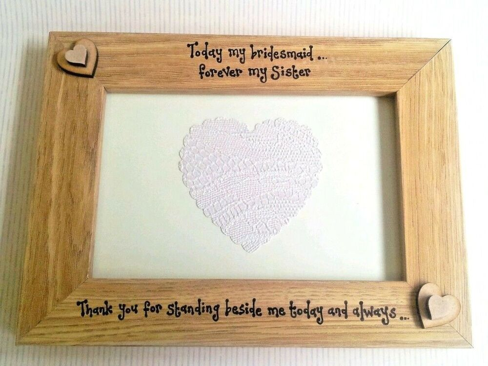 Bridesmaid Gift for sister / Friend Personalised Photo Frame Maid ...