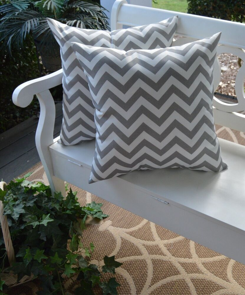 2 Pack ~ Gray White Chevron Decorative Indoor Outdoor Throw Toss Pillow USA | eBay