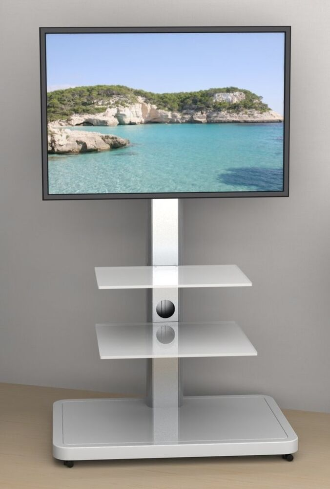 led lcd tv st nder halter fu standfuss business tower midi glasb den rollen ebay. Black Bedroom Furniture Sets. Home Design Ideas