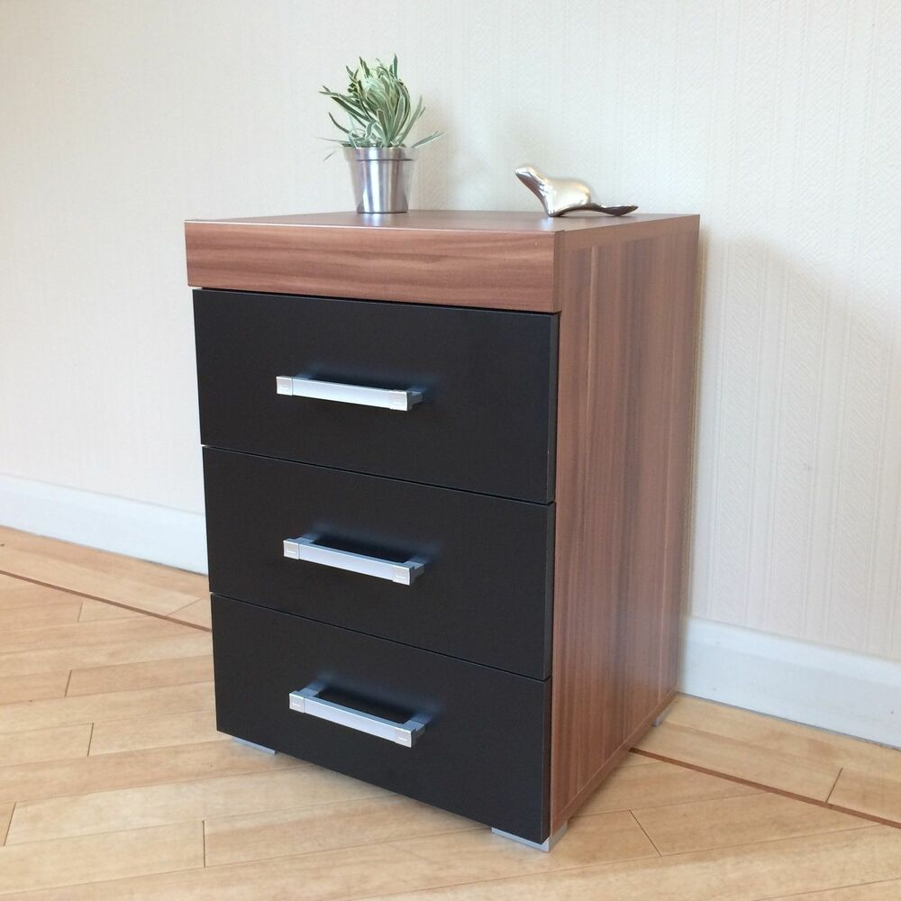 Walnut Bedside Cabinet Table 3 Draw Chest Bedroom Furniture EBay