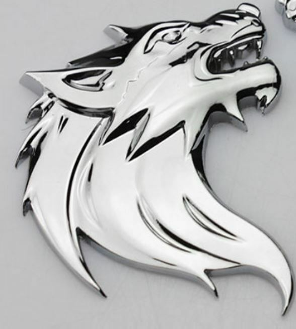 3d metall wolf wolfkopf chrom logo sticker emblem badge aufkleber pkw kfz auto ebay. Black Bedroom Furniture Sets. Home Design Ideas