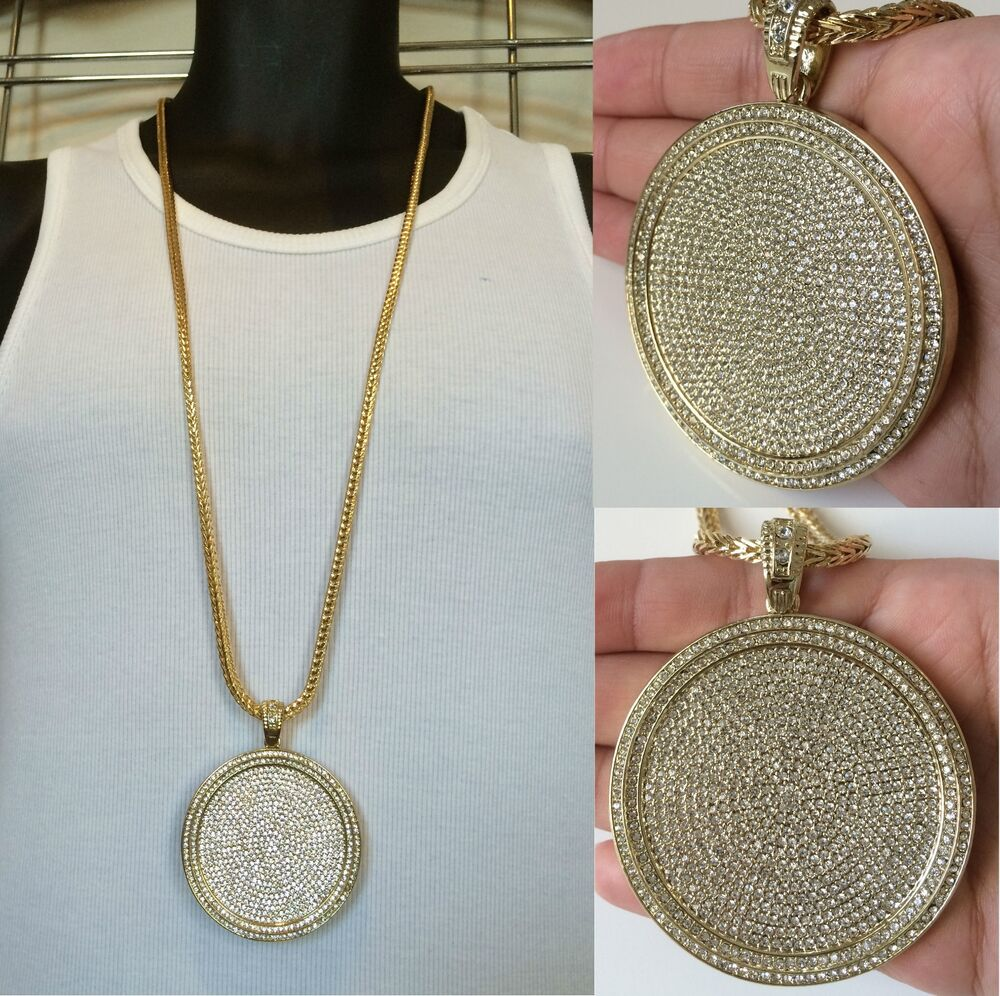 MENS ICED OUT HIP HOP GOLD ROUND CZ MEDALLION PENDANT 36 ...