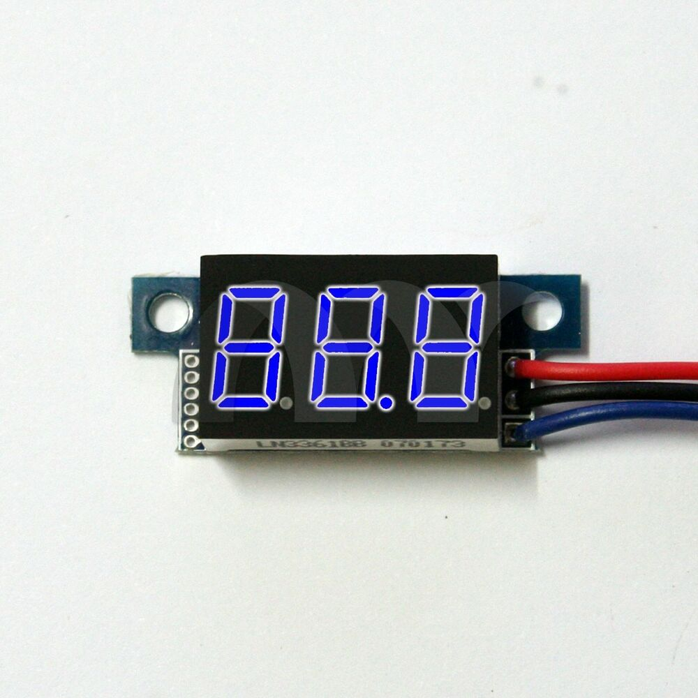 Dc Voltage Digital Panel Meters : Mini dc v wire voltmeter blue led display volt