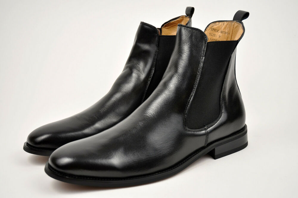 la s black genuine leather winter dress boots