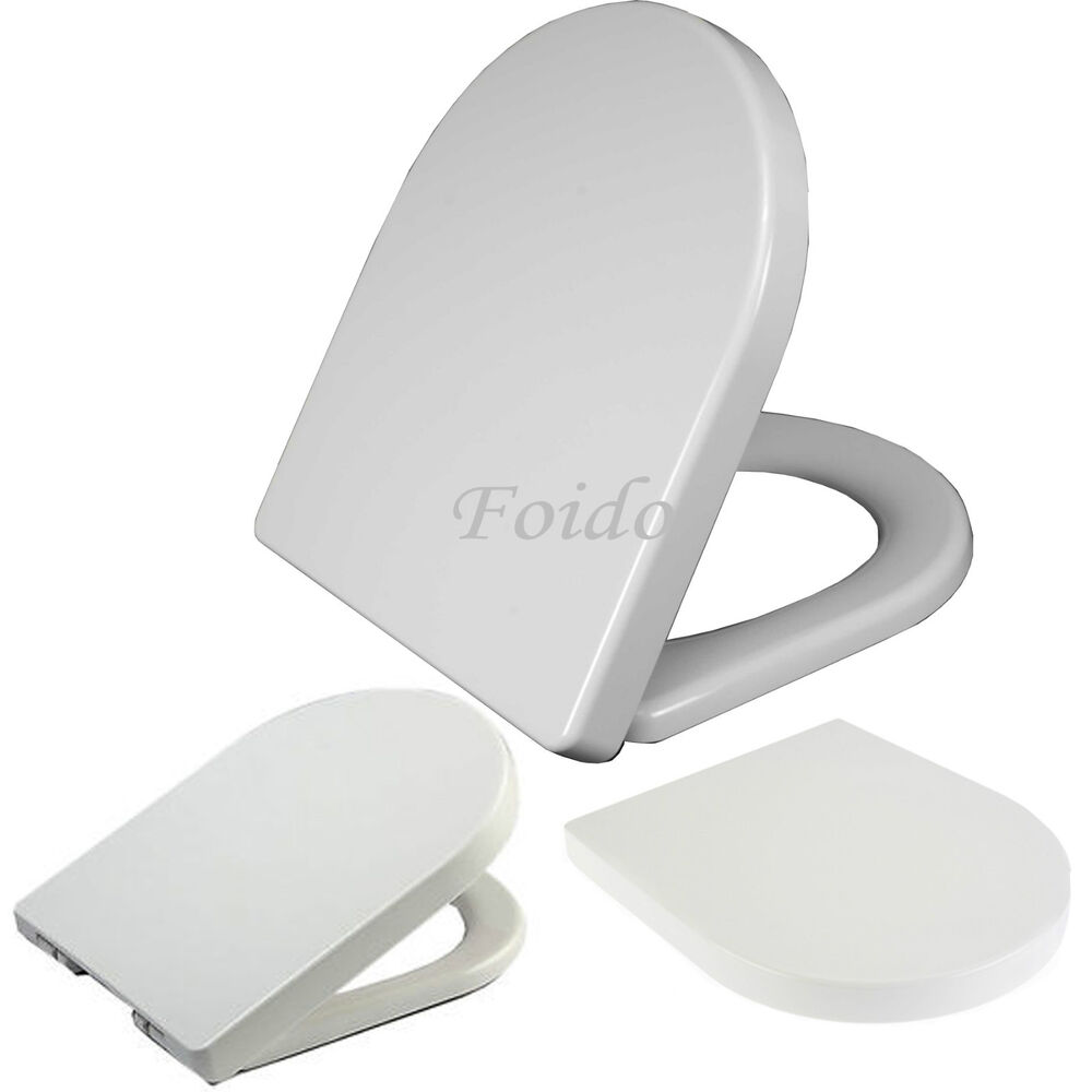 LUXURY D SHAPE HEAVY DUTY SOFT CLOSE WHITE TOILET SEAT WITH TOP FIXING HING