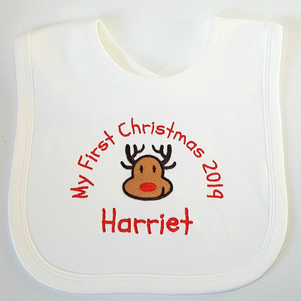 Personalised Baby Gifts Christmas Uk : St first christmas personalised baby bib reindeer or