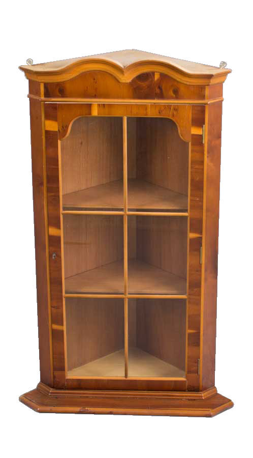 Antique Style English Hanging Yew Wood Corner Cabinet Cupboard Ebay