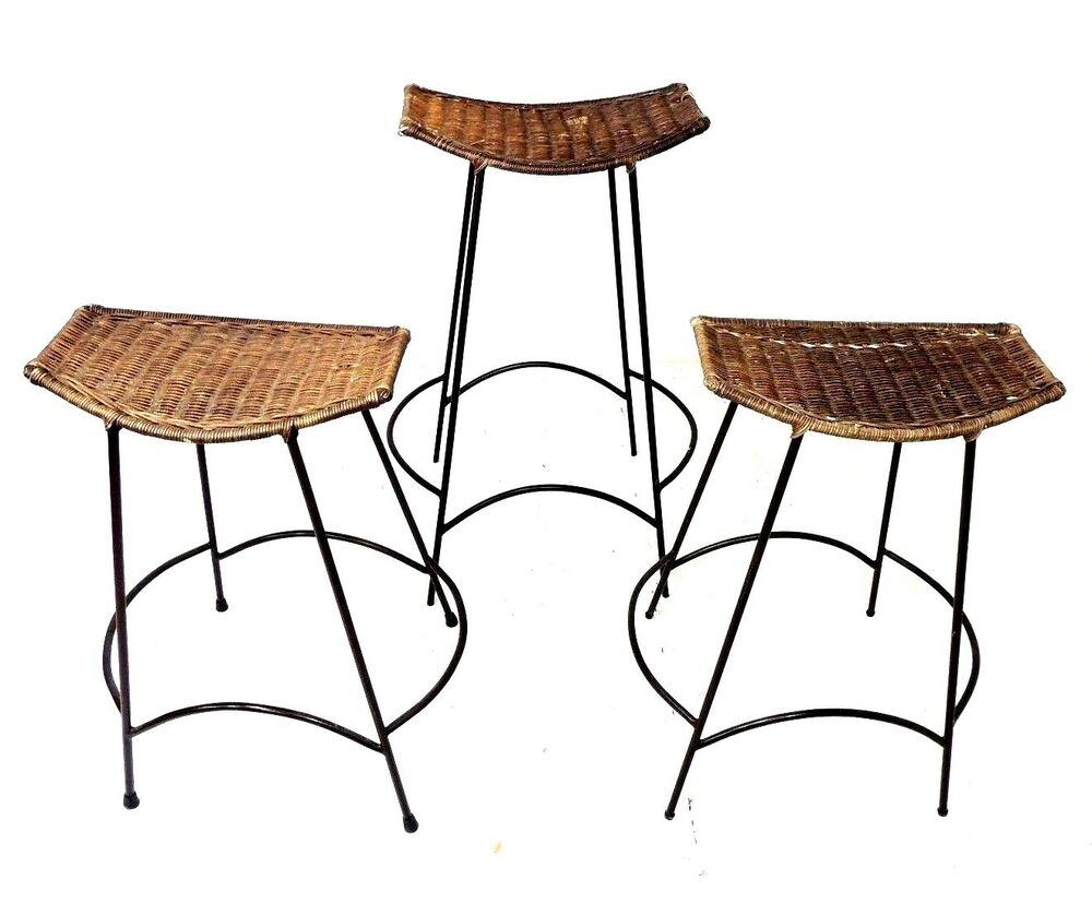 Vintage Set Of 3 Counter Bar Stool Wicker Rattan Seat