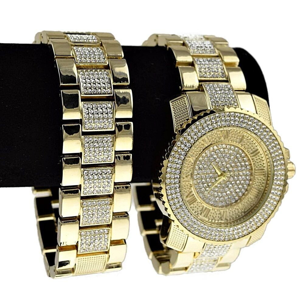 Iced out gold finish hip hop watch bracelet roman for Rapper watches