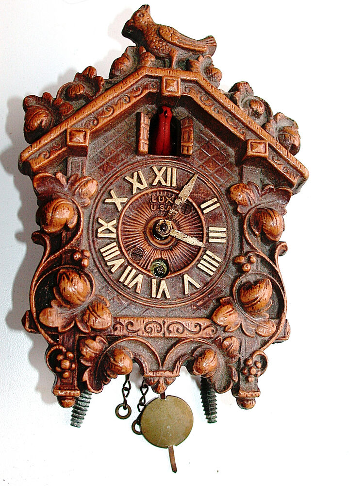 Vintage pendulum with key windup brass mech mini working cuckoo lux clock ebay - Cuckoo clock pendulum ...