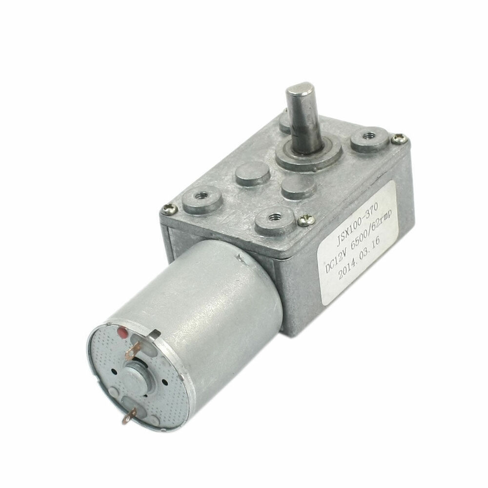 Dc 12v Reduction Ratio 6500rpm 62rpm 2 Pin Worm Gear Motor