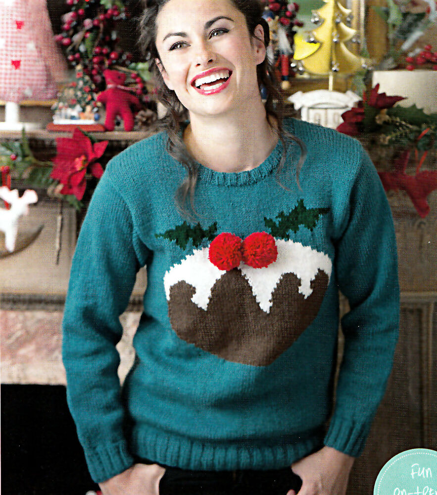 KNITTING PATTERN LADIES XMAS SWEATER INTARSIA PUDDING MOTIF WENDY SKM AUA eBay