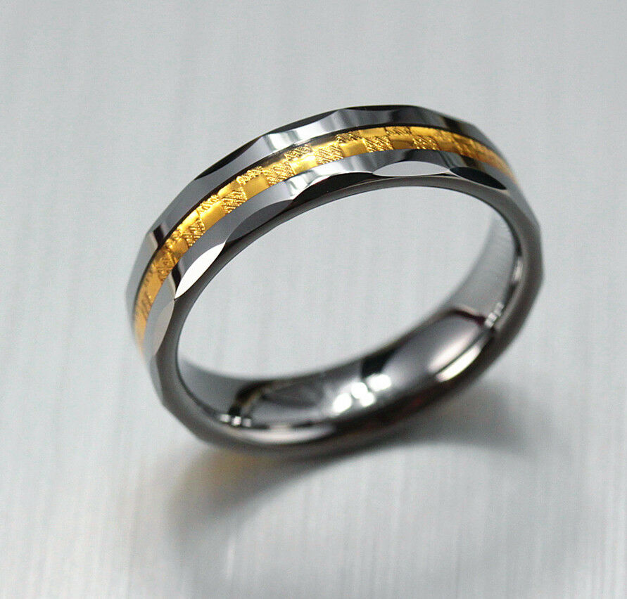 6mm mens solid tungsten carbide gold inlay wedding ring band engagement ebay. Black Bedroom Furniture Sets. Home Design Ideas