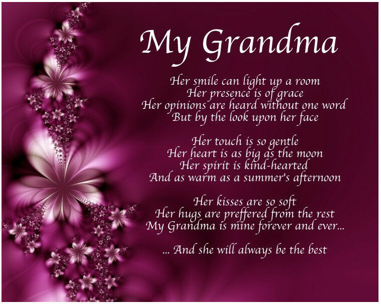 Personalised My Grandma Poem Mothers Day Birthday