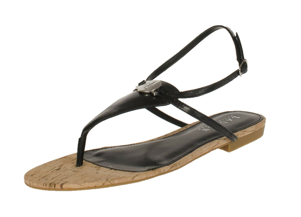 3f8f423be0ccc4 Details about RALPH LAUREN ANITA BLACK LOGO STRAP SANDAL THONG SHOES  MULTISIZES AS207