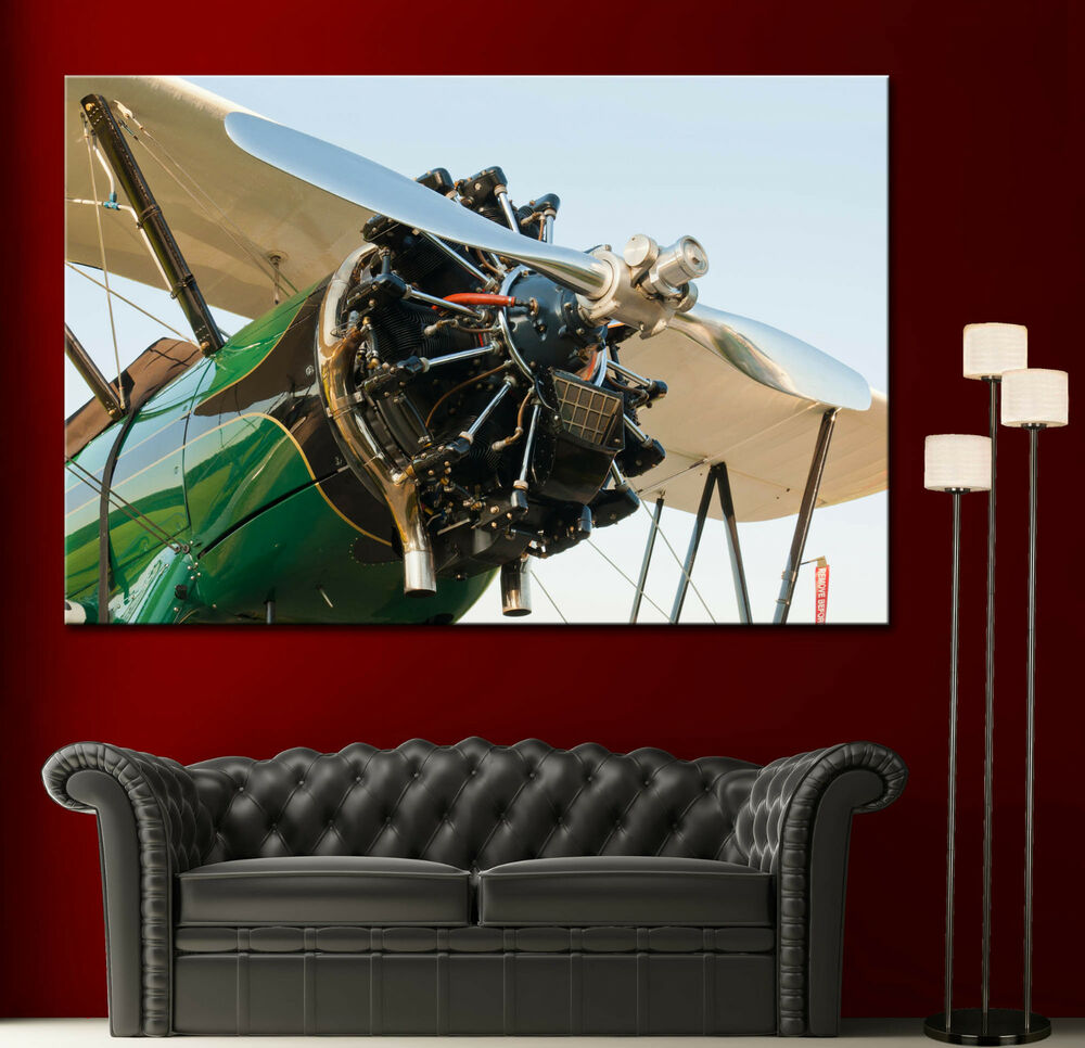 Airplane boeing e75 propeller canvas print wall art prints for Airplane cockpit wall mural