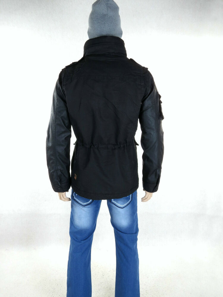 khujo winterjacke tomboy black leder rmel m l xl xxl herren m65 jacke winter neu ebay. Black Bedroom Furniture Sets. Home Design Ideas