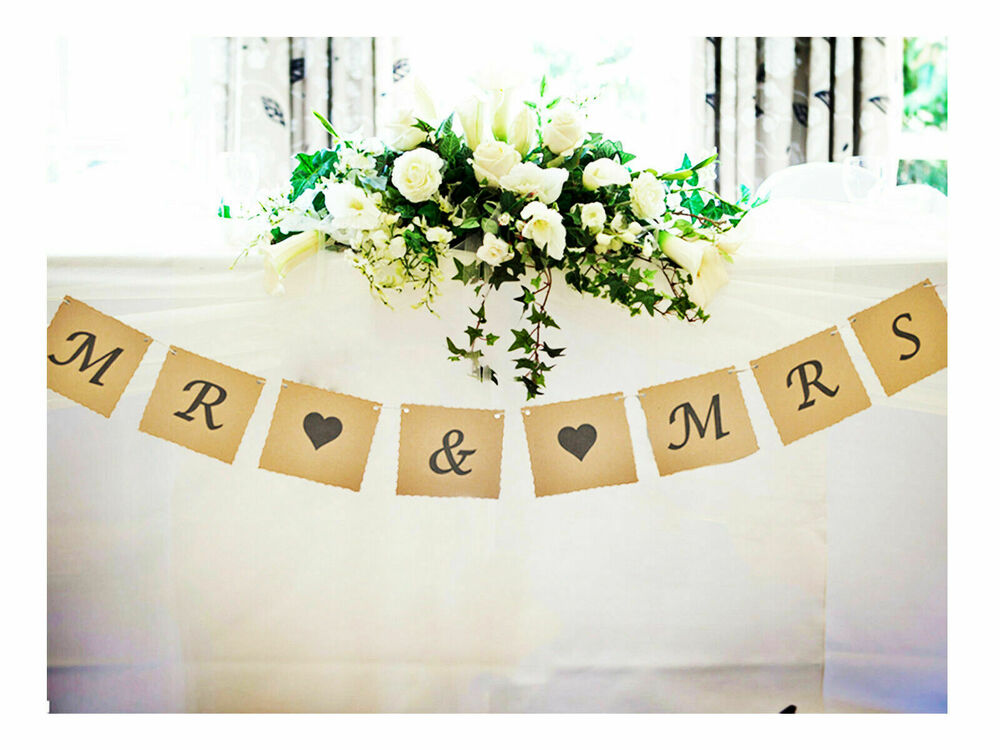 Mr and mrs bunting wedding venue top table decoration for Venue decoration